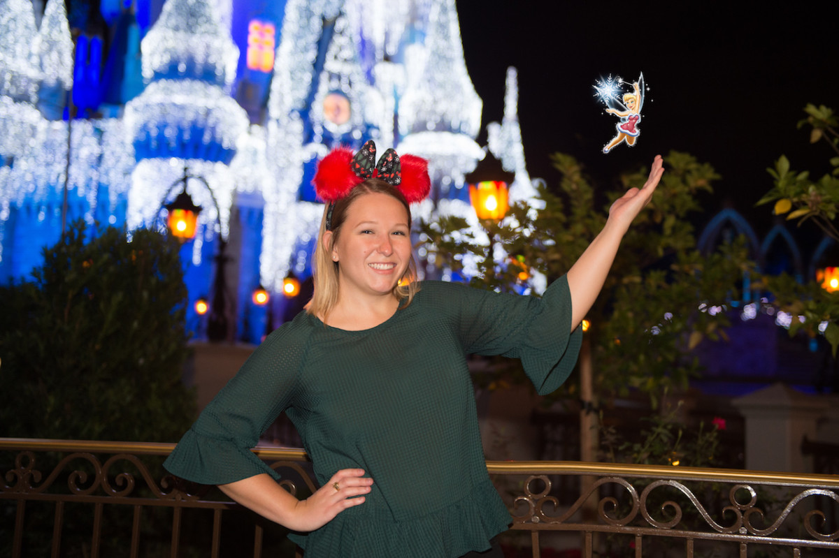 Tinker Bell Magic Shot with Disney Photopass During Mickey's Very Merry Christmas Party