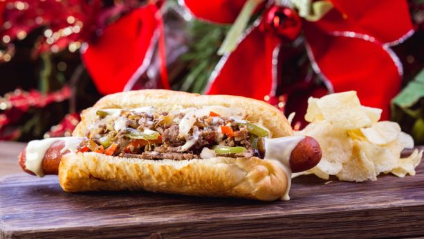 Philly Cheesesteak Hot Dog from Refreshment Corner at Disneyland Park for 2018 Holidays at Disneyland Resort