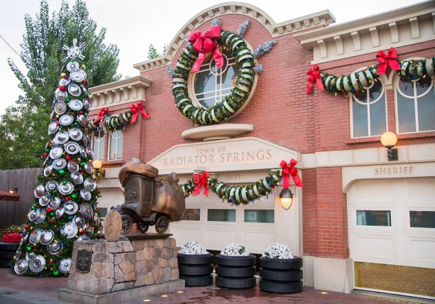 Cars Land in Disney California Adventure park decorated for the Holidays