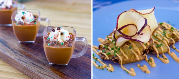 Chocolate Chipotle Pot De Crème and Jalapeño Latkes from Spicy Celebrations Marketplace at Disney Festival of Holidays at Disney California Adventure Park