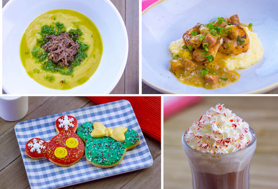 Curry Cauliflower Soup, Shrimp and Grits, Holiday Mickey and Minnie Cookies, and Warm Peppermint Chocolate Float from Holiday Duets Marketplace at Disney Festival of Holidays at Disney California Adventure Park