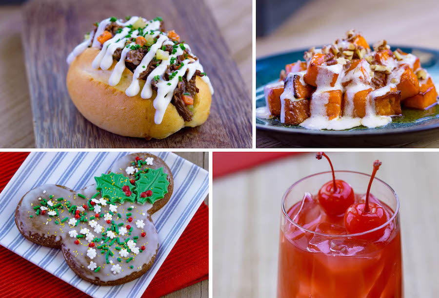 Beef Pot Roast, Candied Yams, Gingerbread Mickey, and Merry Cherry Pineapple Punch from Grandma's Recipes Marketplace at Disney Festival of Holidays at Disney California Adventure Park