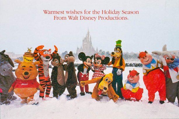 1983 card featuring snow at Tokyo Disneyland