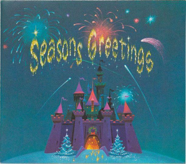 1959 card featuring Sleeping Beauty Castle