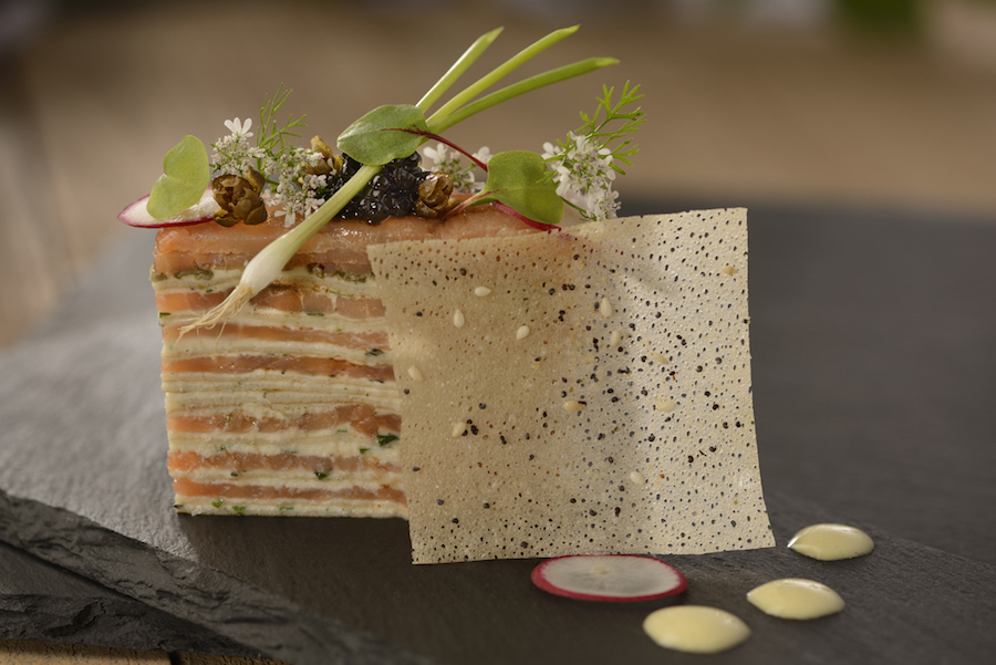 Smoked Salmon and Cream Gâteau with Egg Yolk Cream, Paddlefish Caviar, and Micro-herbs (The Painter's Palate)
