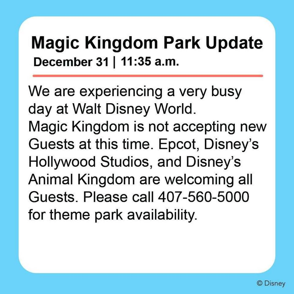 Disney's Magic Kingdom Already Hitting Capacity Closures (Details below) 1