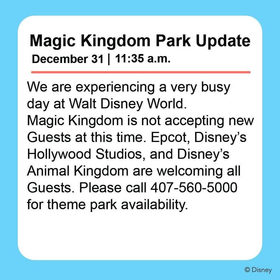 522a7b0aa06 Disney s Magic Kingdom Already Hitting Capacity Closures (Details below)