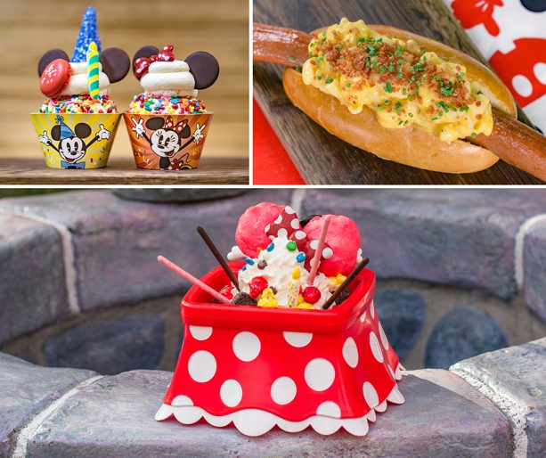 Specialty Items for Get Your Ears On at Disneyland Park - Mickey and Minnie Chocolate Chip Cookie Cupcakes, Bacon Mac & Cheese Footlong Hotdog, and Mickey's Birthday Sundae