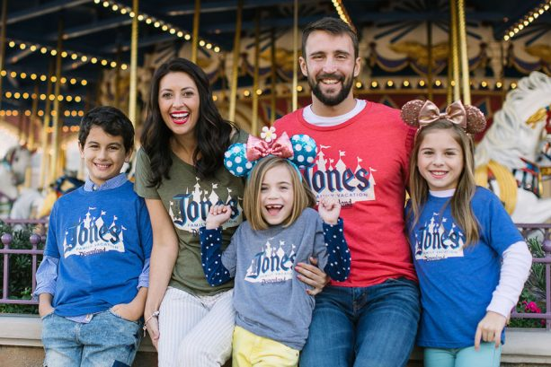 Family wearing Disney Parks Authentic Custom T-Shirts and Gear from shopDisney.com at Magic Kingdom Park