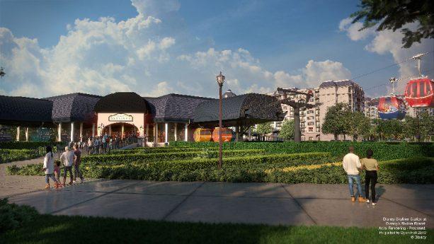 Disney Skyliner station at Disney's Riviera Resort - rendering