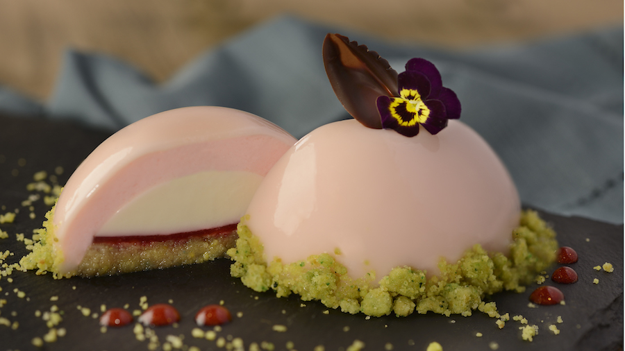 Vanilla, Rose Water and Pistachio Panna Cotta from the Masterpiece Kitchen Food Studio at Epcot International Festival of the Arts