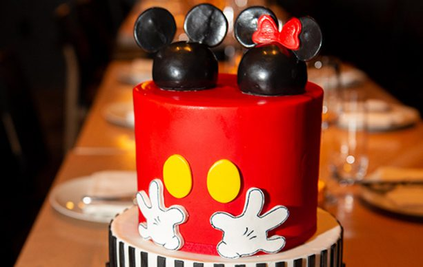 Mickey and Minnie Mouse-themed cake