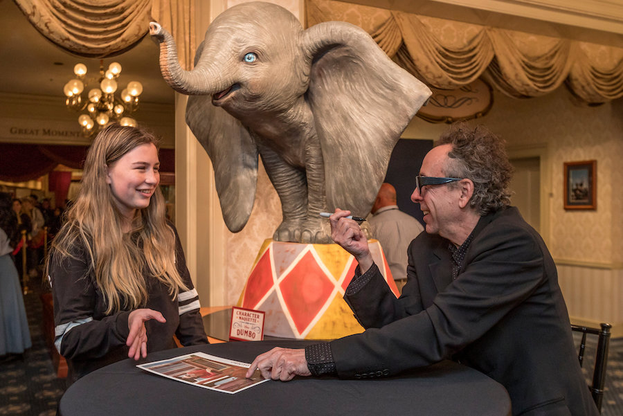 "Director Tim Burton Surprises Disneyland Park Guests During a Sneak Peek of ""Dumbo"""