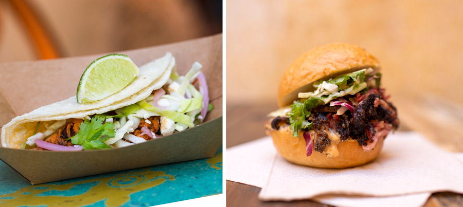 Dishes from Smiling Crocodile (Discovery Island) - Pulled Pork Street Tacos and House-smoked Pastrami Slider - 2019 Disney's Animal Kingdom Tasting Sampler