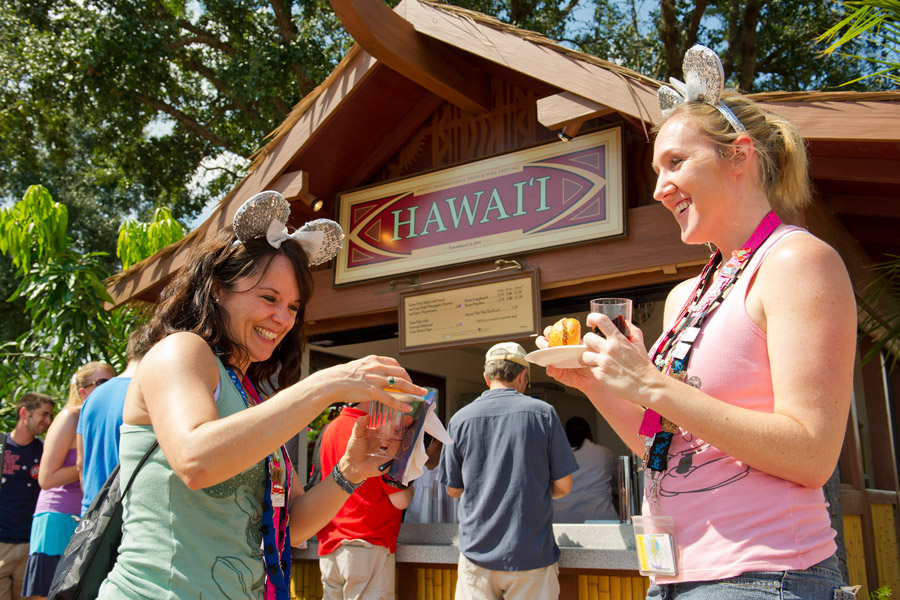 Trying food and drinks at the Epcot International Food & Wine Festival