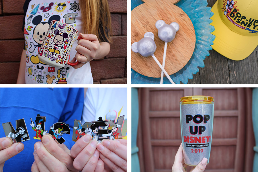 Pop-Up Disney! A Mickey Celebration merchandise items: T-shirt, Mug, metallic Mickey cake pops, ball cap, pins and tumbler
