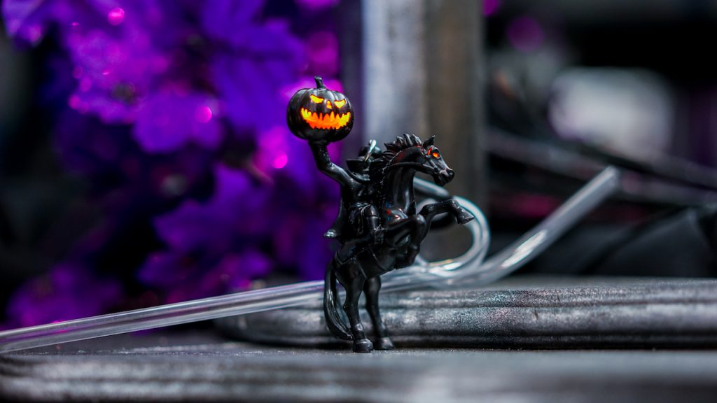 Headless Horseman Novelty Straw from Liberty Square Popcorn Cart for Disney Villains After Hours at Magic Kingdom Park