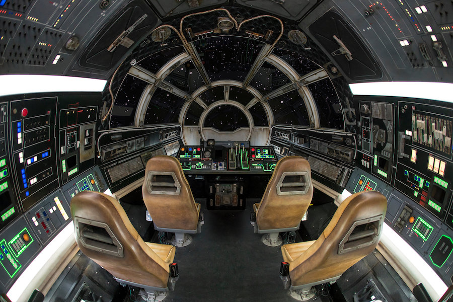 Taking Control of Millennium Falcon: Smugglers Run at Star Wars: Galaxy's Edge at Disneyland Park 1