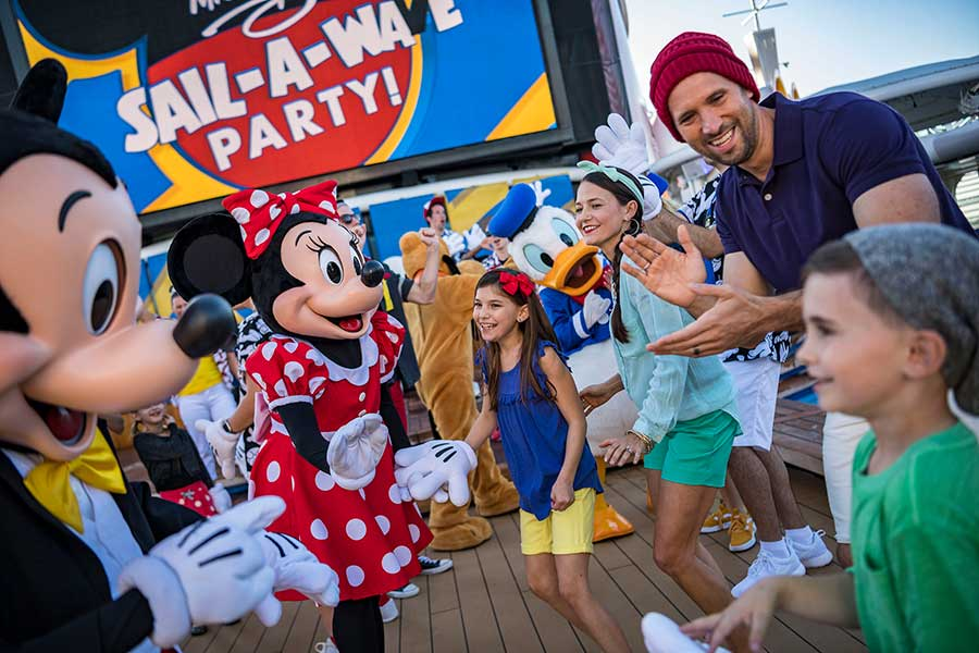 Mickey and Minnie enjoying a deck party, Disney Cruise Line