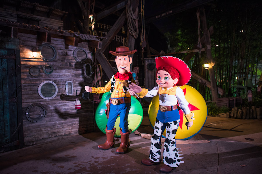Woody and Jessie at H2O Glow Nights at Typhoon Lagoon Water Park