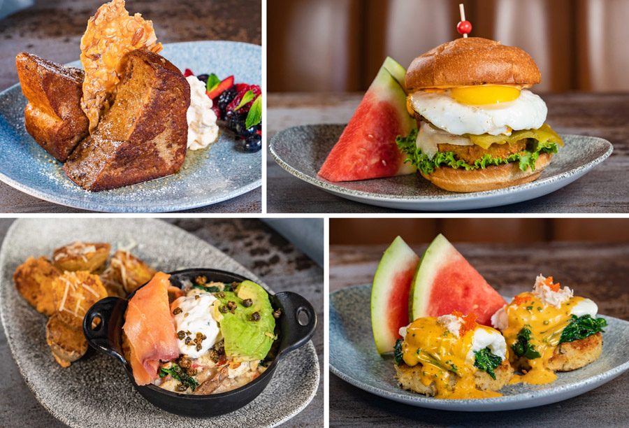 Brunch Entrées from Lamplight Lounge at Disney California Adventure park - Indulgent French Toast, Brunch Burger, Egg White Frittata Bake, Crab and Potato Cake Benedict