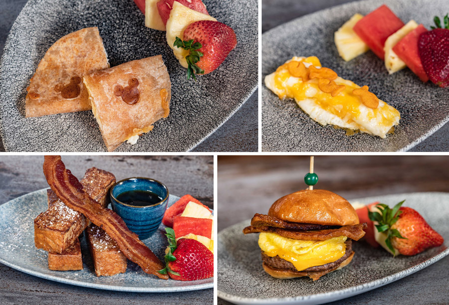 Kid's Entrées from Lamplight Lounge at Disney California Adventure park - Brunch Quesadilla, Omelet, French Toast, Mini Brunch Burger