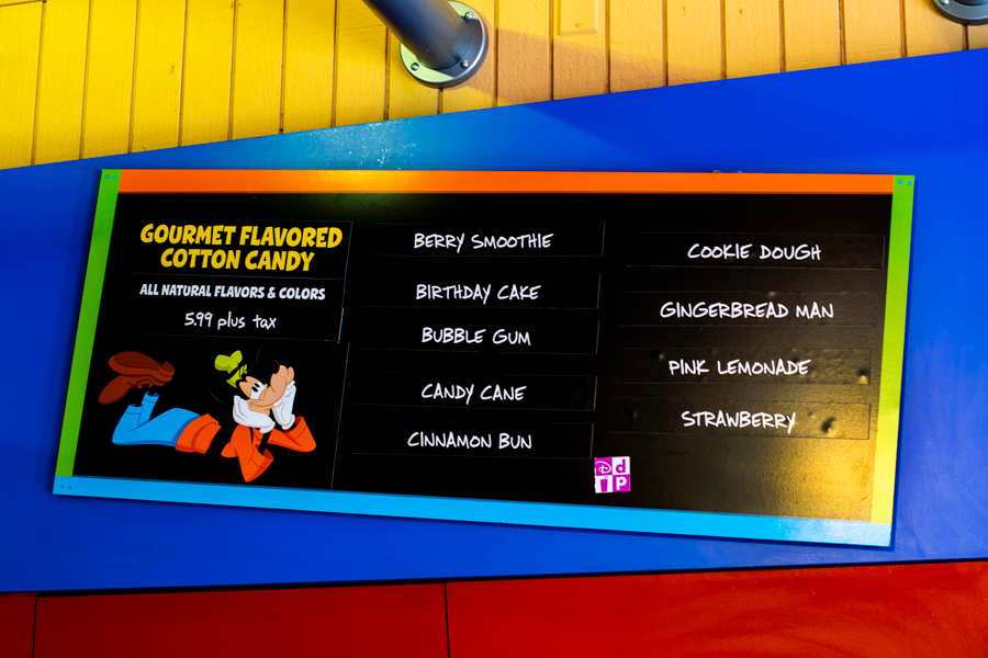 Goofy's Candy Co. cotton candy menu at Disney Springs