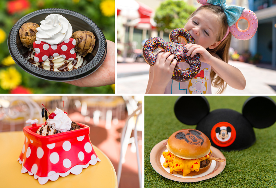 Mickey and Minnie food offerings at Magic Kingdom Park - Minnie's Cookie Dough Sundae, Mickey Celebration Donut, Minnie Kitchen Sink Sundae with Souvenir Minnie Kitchen Sink Bowl and Mickey Burger