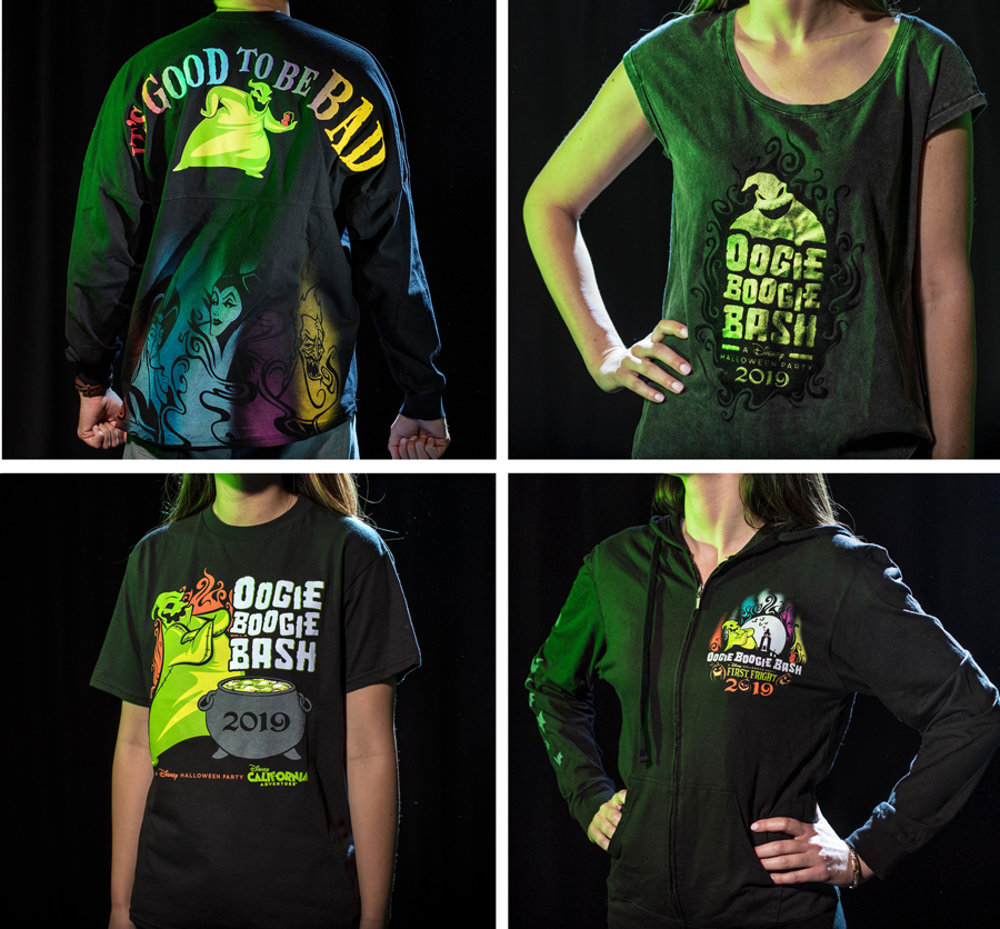 Exclusive Oogie Boogie Bash apparel: a bold spirit jersey, themed t-shirts, and festive sweatshirt for men, women and kids.