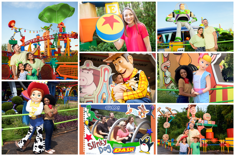 Collage of photo ops found in Toy Story Land at Disney's Hollywood Studios