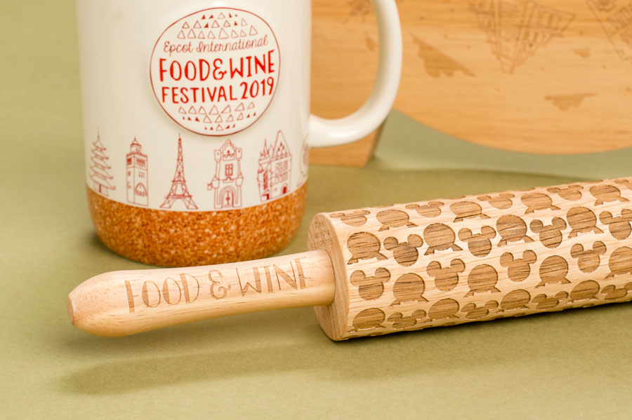 Epcot International Food & Wine Festival 2019 Merchandise - commemorative mug, rolling pin and cutting board
