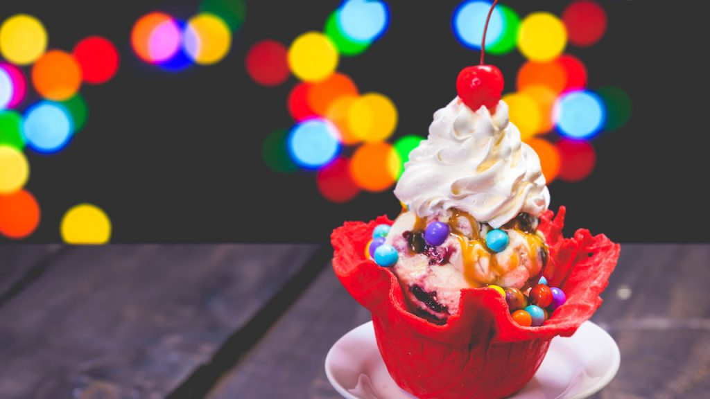 Fantasia Waffle Bowl Sundae from Gibson Girl Ice Cream Parlor at Disneyland Park