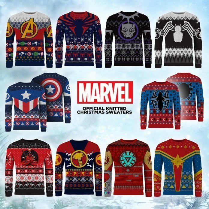 Ugly Christmas Sweaters 2019.Captain Marvel Deadpool And Iron Man Kick Off Marvel S