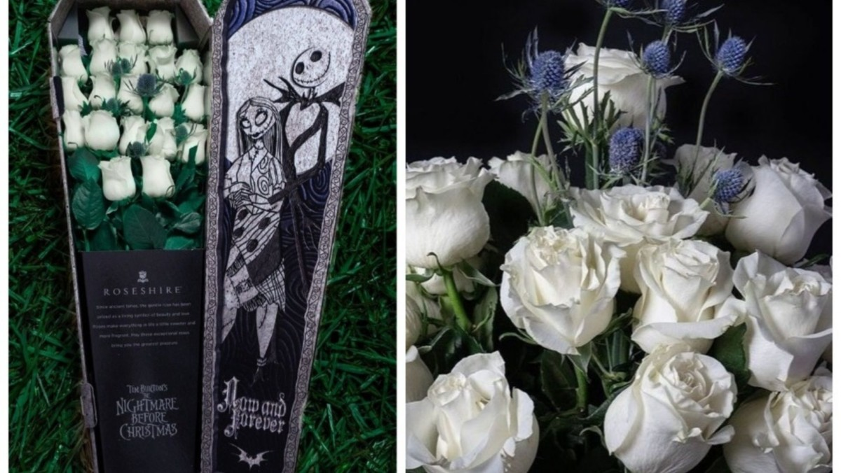 This 'Nightmare Before Christmas'-Themed Rose Bouquet Comes In A Tiny Coffin 2