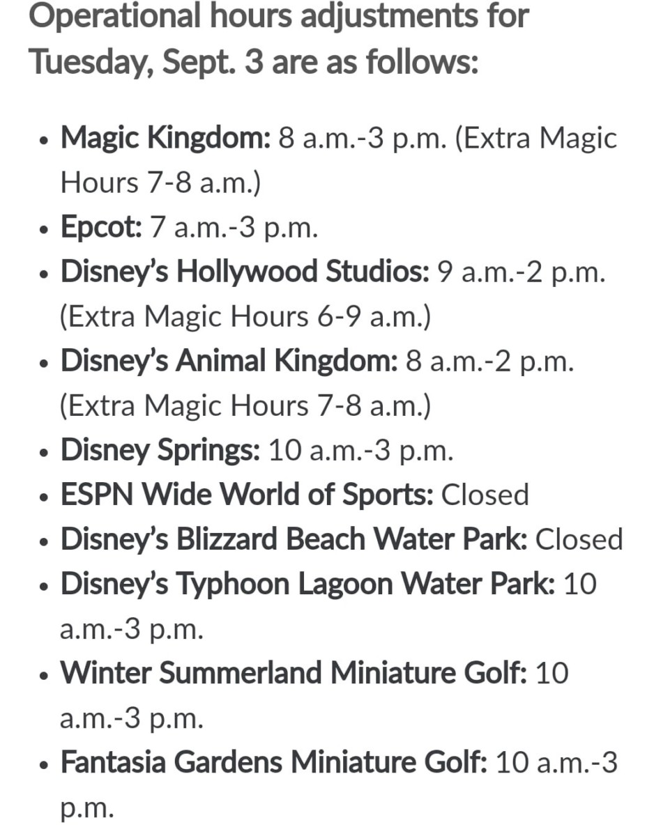 Walt Disney World Hours September 3, 2019, WDW to Close Early Due to Dorian 2