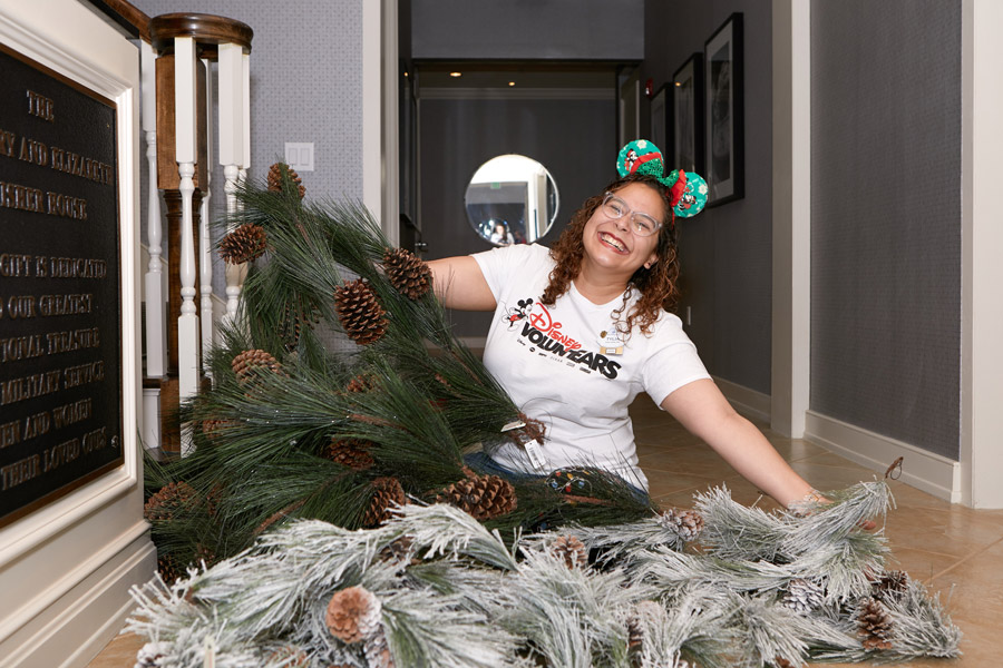 Disney VoluntEARs with holiday decor