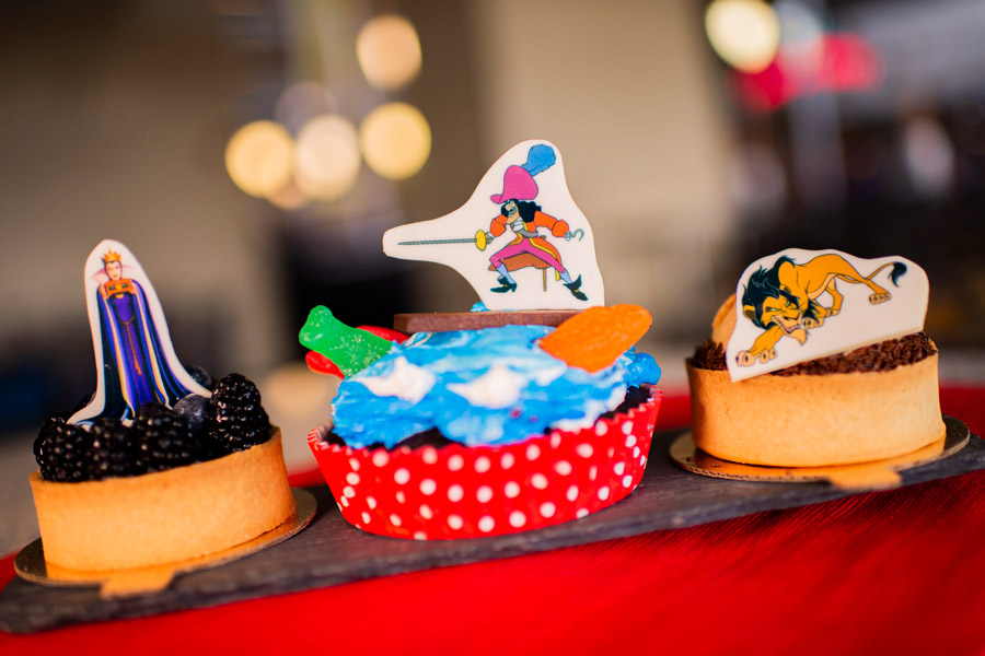 Villain Desserts from Contempo Café for Villaintines Day at Disney's Contemporary Resort - Evil Queen Fruit Tart, Captain Hook Cake and Scar Peanut Butter Pie