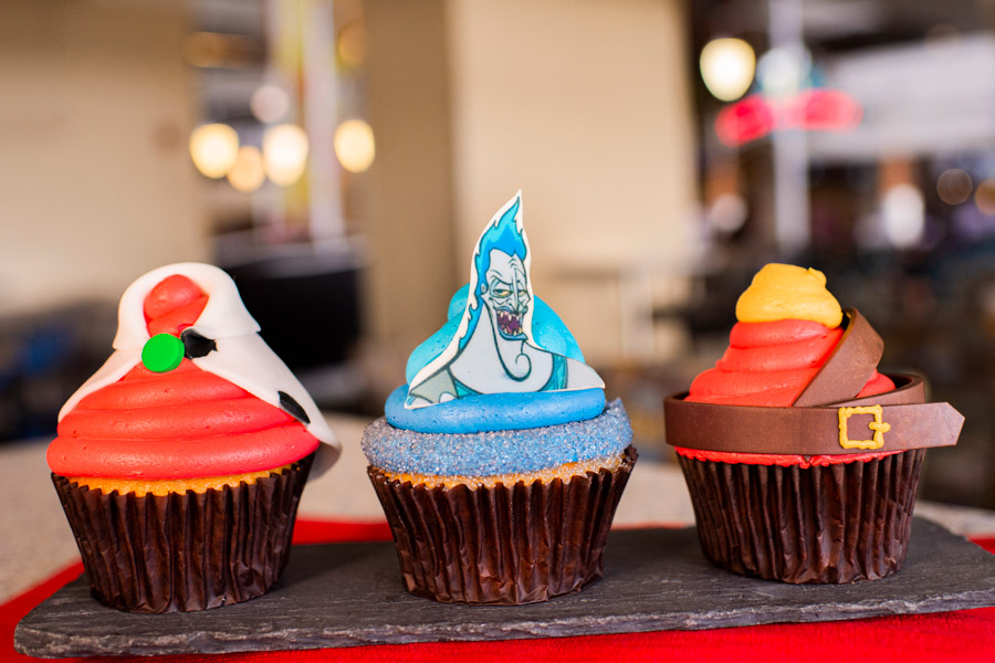 Villain Cupcakes from Contempo Café for Villaintines Day at Disney's Contemporary Resort - Cruella de Vil Cupcake, Hades Cupcake and Gaston Cupcake
