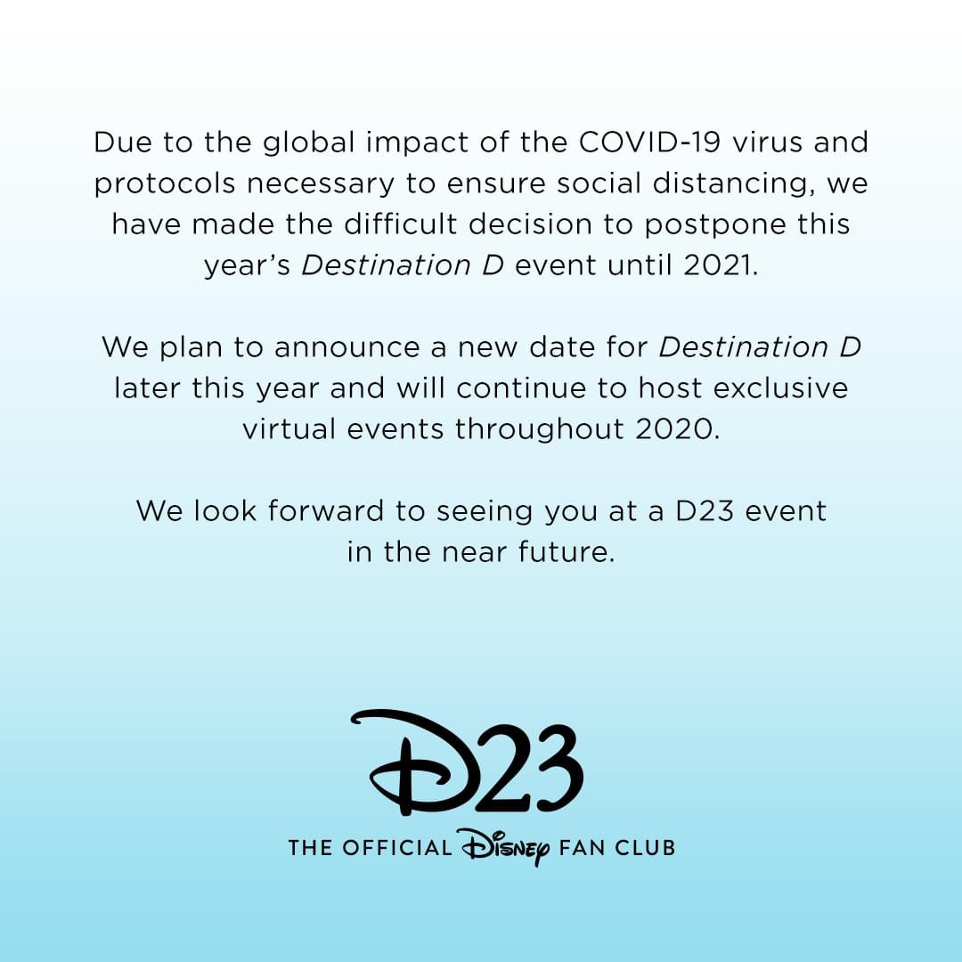 Destination D Postponed Until 2021 #D23 1