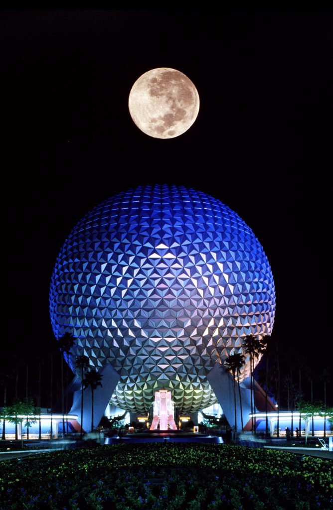 Spaceship Earth lights up the night at EPCOT for the first time in 1982