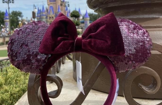 New Burgundy Sequined Minnie Ears at WDW! 1