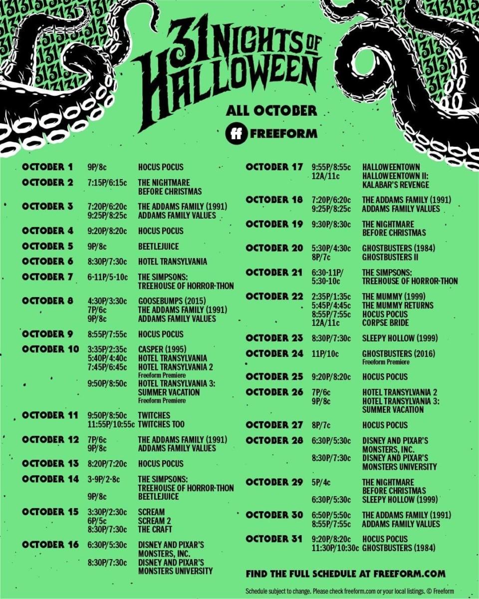 Freeform Halloween 2020 Lineup Freeform's 31 Nights Of Halloween  Schedule