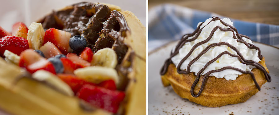 Specialty Waffles from Sleepy Hollow at Magic Kingdom Park and Belgian Waffles from EPCOT International Food & Wine Festival
