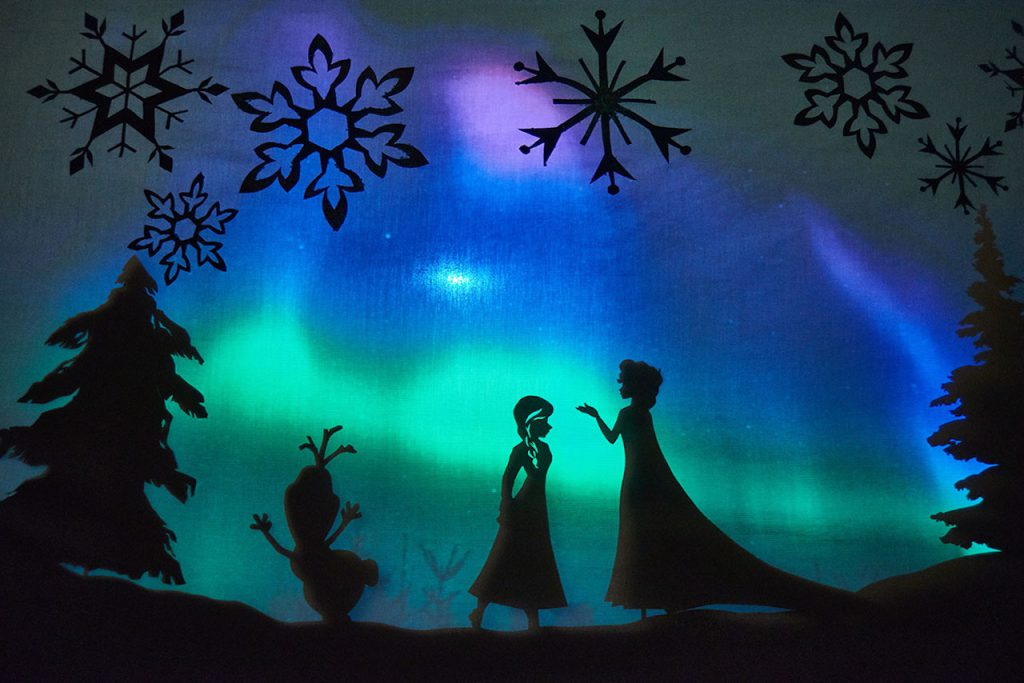 """Frozen"" performance with these printable shadow puppet characters from Disney Family"